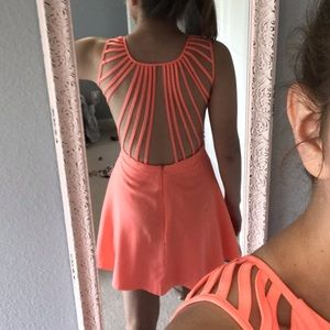 Backless Coral Skater Dress // Xenia Boutique